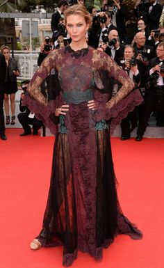 Kind of a cape: Karlie Kloss on the Cannes red-carpet in Valentino