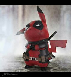 Pikapool fan art Pikachu Deadpool