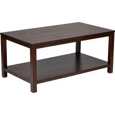 "Merge 42"" Rectangular Coffee Table, Mahogany Finish"