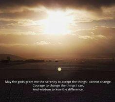 """In Anlehnung an das Gelassenheitsgebet: """"Mögen die Götter mir die Gelassenheit geben, Dinge hinzunehmen, die ich nicht ändern kann, den Mut, Dinge zu ändern, die ich ändern kann, und die Weisheit, das eine vom anderen zu unterscheiden."""""""
