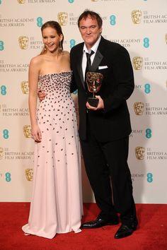 Quentin Tarantino with Jennifer Lawrence - EE British Academy Film Awards, February 10th 2013.   Ganador de mejor guión original por Django Unchained.