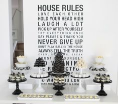 Leanne at Sweet Style used beautiful display pieces and a simple black and white color palette to create a stunning black and white dessert table for a birthday celebration. White Dessert Tables, White Desserts, Dessert Buffet, Black Dessert, Dessert Table Birthday, 40th Birthday Parties, Birthday Celebration, Dessert Party, Party Desserts