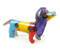 "Recycled Metal Yard Folk Art 13"" Mini Dachshund Weenie Dog Sculpture ..."