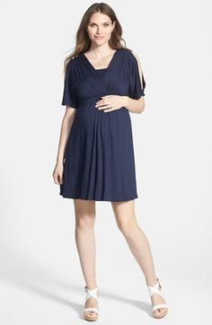 Free shipping and returns on Maternal America Split Sleeve Maternity Dress at Nordstrom.com. A stretchy dress with flowy open-top sleeves is sure to be a trimester-bridging favorite. The pleated surplice neckline and inner shelf-bra lining allow easy, but discreet, nursing when baby arrives.