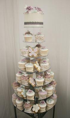 Dusky Lilac & Eau De Nil Cupcake Tower
