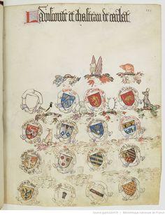 « Registre d'armes » ou armorial d'Auvergne, dédié par le hérault Guillaume REVEL au roi Charles VII.  Date d'édition :  1401-1500  Français 22297  Folio 153