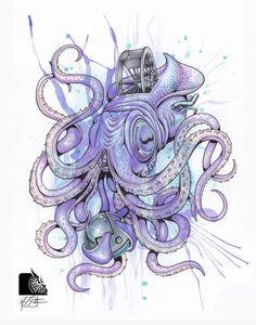 "Squid ""Animal Series"" 3 of 5 - mixed media art Series 3, Medium Art, Mixed Media Art, Traditional, Gallery, Artist, Animals, Roof Rack, Artists"