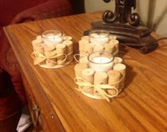 Wine Cork Candle Holder Christmas Holiday di LizzieJoeDesigns