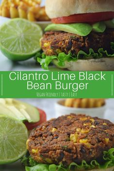 This Cilantr Lime Black Bean Burger is the perfect twist on the original! Perfect for lunch or dinner and they freeze well too! Bean Recipes, Burger Recipes, Veggie Recipes, Whole Food Recipes, Vegetarian Recipes, Cooking Recipes, Healthy Recipes, Cooking Tips, Healthy Food