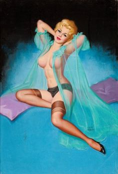 Pin-up and Glamour Art, EARL MORAN (American, 1893-1984). Blonde in Aqua Negligee.Pastel on board. 30 x 20 in.. Signed lower right. ...