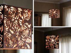 Laser Cut Copper Rose Light Shade Gold Dining Room, Wood, Interior, Rose Lights, Light Shades, Room Divider, Light, Copper Rose, Diy Lighting