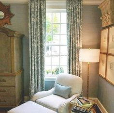 High Windows, Blue Curtains, Window Panels, Venetian, Damask, Interior Inspiration, Interior Design, Bedroom, Wood