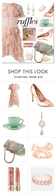 """What a Frill: Ruffles"" by hubunch ❤ liked on Polyvore featuring Alexander McQueen, Call it SPRING, Irene Neuwirth, Too Faced Cosmetics, Avenue, Wedgwood, ruffles and RuffLyfe"