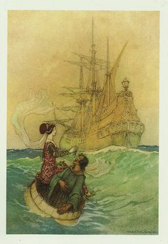 """Vastolla and Peruonto Approaching the Ship"" for Stories from the Pentamerone by Giambattista Basile, 1911. by raima50, via Flickr"