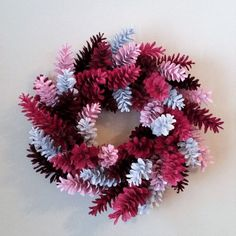 Pine Cone Wreath Pink Red and White Wreath by TwoPondsFarm Pine Cone Art, Pine Cone Crafts, Wreath Crafts, Diy Wreath, Pine Cones, Paper Crafts, Valentine Day Wreaths, Valentine Decorations, Holiday Wreaths