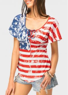 bedb482cc387c Curved Stripe Print Short Sleeve T Shirt
