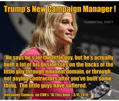 "Trump's new campaign manager once sang a very different tune about Donald Trump than she is now. In addition to this statement, Kellyanne Conway also called on Trump to release his tax returns in April of this year, as well as calling him out for ""hurling personal insults,"" even though now she claims Trump ""doesn't hurl personal insults."" Of course Trump proved her contradictory statement wrong by launching into a Twitter rant full of personal insults a mere 24 hours after Conway said that."