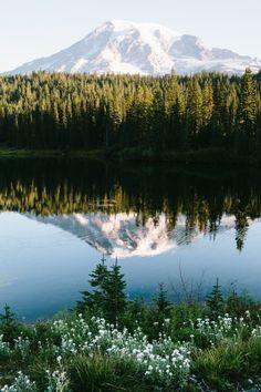 Reflection Lakes, Mt. Rainier National Park.  Souce:  jaredatkinsphoto on Tumblr.