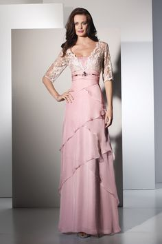 Elegant Silky Chiffon Evening Gown with Removable Lace Sleeves 29503 at www.GownsBySimpleElegance.com