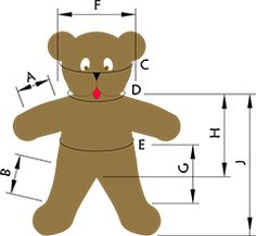 """Use the table below to determine which size to use for your bear or stuffed animal. and and and A Arm length 4 ⅜"""" 4 ⅝"""" B Leg Teddy Clothing, Teddy Bear Clothes, Bear Clothing, Sewing Crafts, Sewing Projects, Sewing Hacks, Sewing Tutorials, Sewing Ideas, Art Projects"""
