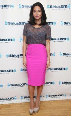 Get Olivia Munn's style- Pink Pencil Skirt
