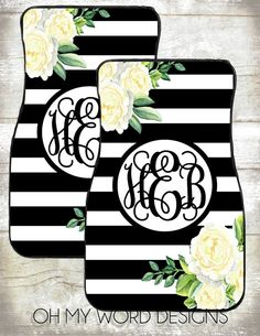 Classy Floral Front License Plate Personalized Monogrammed Black Car ...