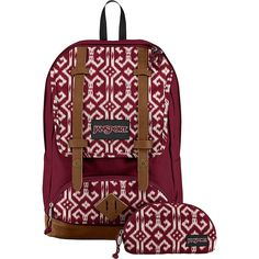 Jansport Baughman Laptop Backpack ($60) ❤ liked on Polyvore featuring bags, backpacks, red, laptop bags, jansport, red pouch, backpack pouch and red backpack