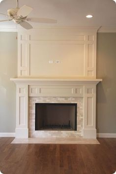 Great idea to expand above existing mantel. All we need to add is the interior trim. by kim