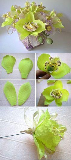 Букеты из конфет пошаговое фото Мастер класс Орхидея | Подарки к 8 марта своими руками. | Постила