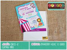 Invitación de Circo - Cumpleaños niña… Podemos personalizarla con cualquier tema! • Circus invitation - Girl birthday... We can personalize it with any party theme!