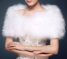 Kahki white Real Ostrich Feather Fur Shawl Shrug Vest Wedding bolero bridal warm in Clothes, Shoes & Accessories, Wedding & Formal Occasion, Bridal Accessories | eBay