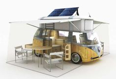 """Retro VW Camper Goes Green  Still in draft-phase, the famous VW Westfalia Camper Van has been redesigned to bring it even more environmental street-cred.   Alexandre Verdier envisions an """"intelligent"""" vehicle with solar panels to power its on board accessories. A computer and GPS-system will position the panels to maximize their solar-intake. A kitchen will swivel, allowing for meal prep inside or out.  Green the groovy way won't be cheap though - expect to pay around $69,000USD."""