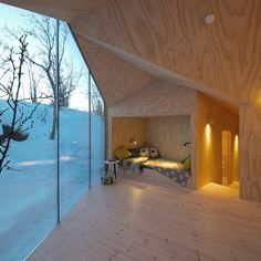 Reiulf Ramstad Arkitekter's V-Shaped Cabin Bare wood lines the interior and exterior of this Norwegian hideaway Contemporary Architecture, Interior Architecture, Interior And Exterior, Room Interior, Sleeping Nook, Plywood Interior, Casas Containers, Wooden House, Cabins In The Woods