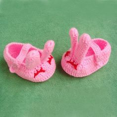 New Lovely Hand Made Rabbit Crochet Baby Shoes
