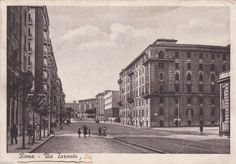 Via Taranto (1946) Old Photos, Vintage Photos, Bella Roma, Time Photo, Rome, Louvre, Street View, Landscape, History
