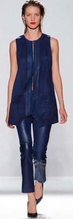 Barbara Bui Spring 2013 Navy suede + leather