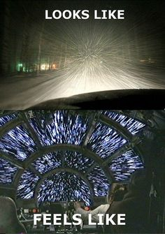 Driving in a snow storm looks like lightspeed. True in New Jersey as well.