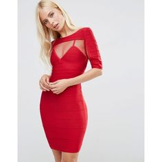 Forever Unique Anousha Short Sleeve Bandage Dress With Mesh Inserts (£155) ❤ liked on Polyvore featuring dresses, red, red zipper dress, bodycon dress, red short sleeve dress, body con dress and red bandage dress