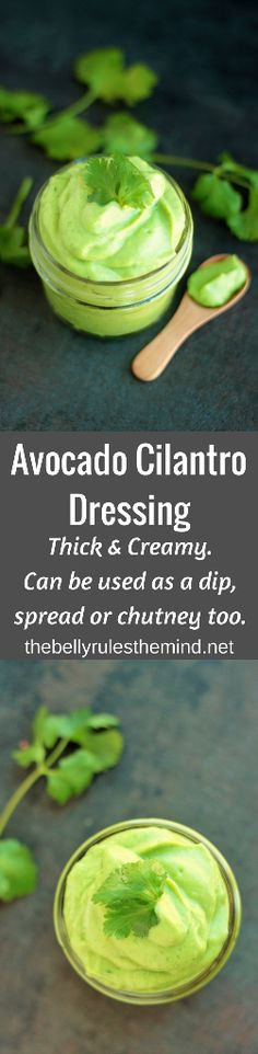 This Avocado Cilantro Dressing is super healthy and is full of deliciousness. Thick & creamy. Ready in 5 minutes. This is going to be your new favorite. Use it as a dip, slather it on a sandwich, or use it as a chutney. Trust me you are going to be hooked onto this!!! Http://www.thebellyrulesthemind @bellyrulesdmind