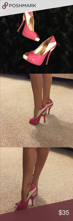 BCBG Generation pink and white peep toe heels Feel like a Barbie doll in these! These would be perfect paired with a solid color outfit like in black or white for a nice pop of color! Never worn in the box! Too big on me! BCBGeneration Shoes Heels