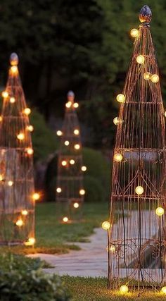lighted garden trellis..could spray paint these brownies....with fun color(s), too.