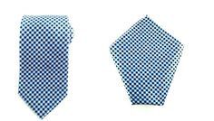 Mens Necktie Blue Black White Checks 8.5 CM Necktie with Pocket Square.