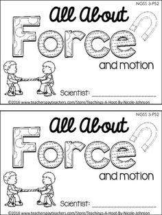 Force and Motion unit using interactive journals. Cute