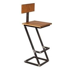Wood And Steel Barstool With Back by Dane Gudde Iron Furniture, Steel Furniture, Furniture Decor, Furniture Design, Log Bar Stools, Bar Chairs, Contemporary Bar Stools, Modern Bar Stools, Industrial Style Furniture