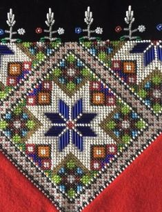 Hardanger Embroidery, Beaded Embroidery, Hand Embroidery, Crochet Bedspread, Tapestry Crochet, Bead Crafts, Diy And Crafts, Norwegian Clothing, Bead Jewellery