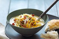Slow-Cooker Loaded Baked Potato Soup Recipe - Kraft Recipes - per cup Slow Cooker Soup, Slow Cooker Recipes, Soup Recipes, Dinner Recipes, Cooking Recipes, Crockpot Recipes, Recipies, Family Recipes, Potato Recipes
