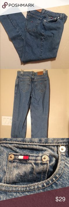"""Vintage TOMMY HILFIGER JEANS Sz 4 stonewash Vintage Tommy Hilfiger jeans size 4 stonewash  Waist lying flat 15""""  Inseam 29"""" They look new for their age:)  Awesome vintage jeans! Tommy Hilfiger Jeans Boot Cut"""