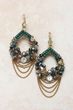 Emerald Madeline Earrings on Emma Stine Limited~Emerald, Black Diamond, Champagne and Sapphire Austrian Crystals delicately weaved into a Teardrop, accented with tiny Floral Charms, finished with delicate layers of Gold. 14K Gold over Sterling Silver French Hook. Handmade.