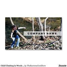 Child Climbing In Woods Texas Standard Business Card