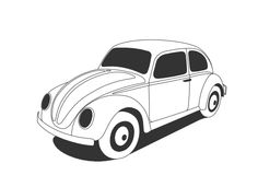 Vw Beetle Classic Black White Line Art Scalable Vector Graphics SVG Inkscape Adobe Illustrator Clip Art Clipart Wall Paper Background 555px.png